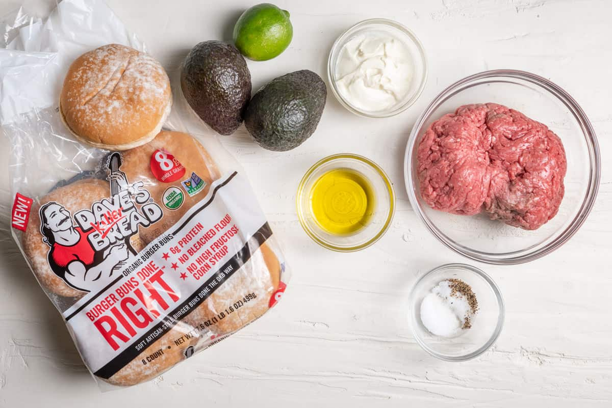 Ingredients to make the recipe along with the burger buns used