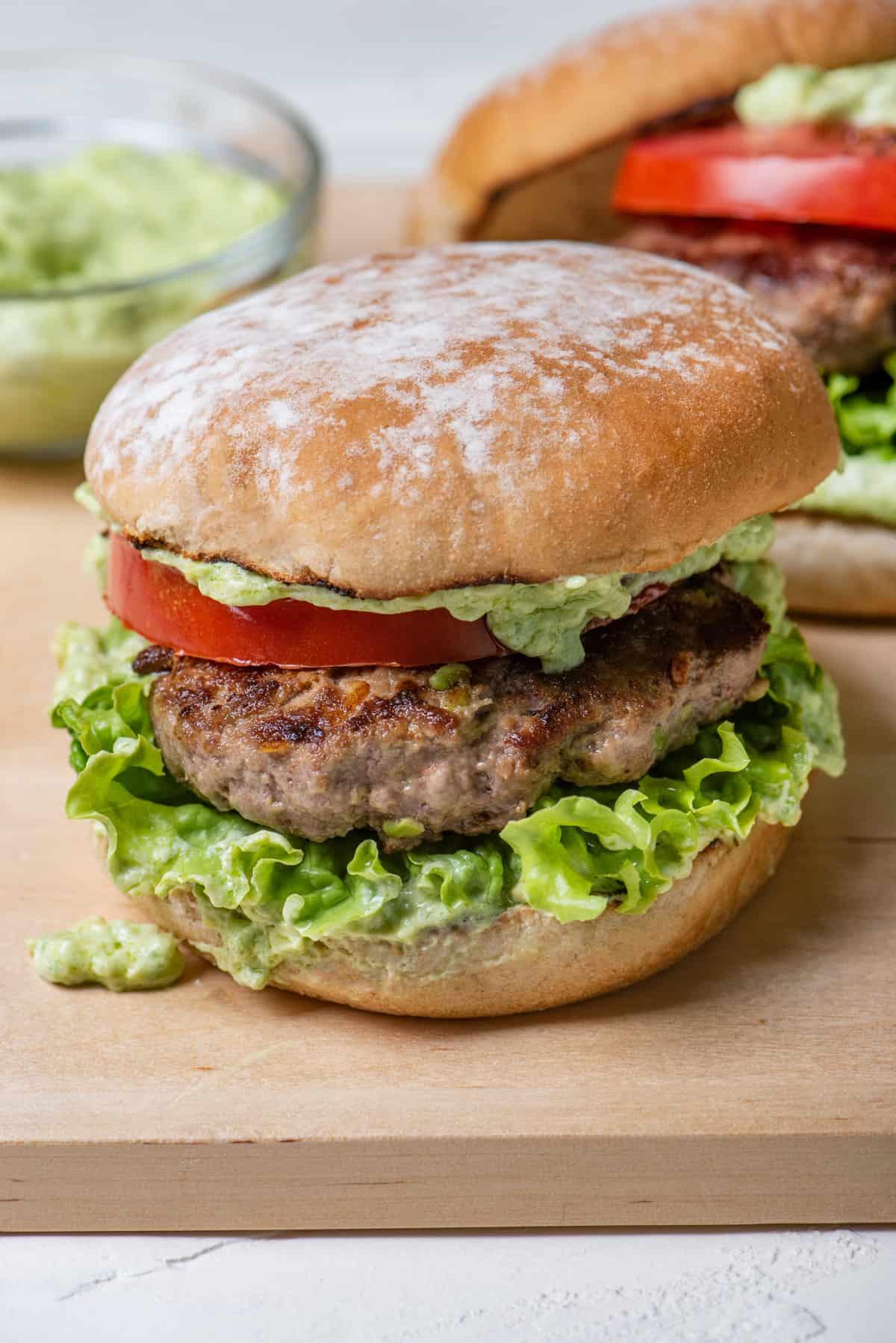Close up shot of an avocado burger