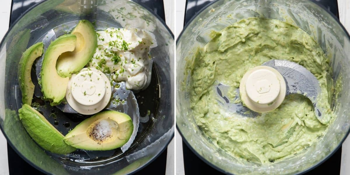 2 image collage to show how to make the avocado crema