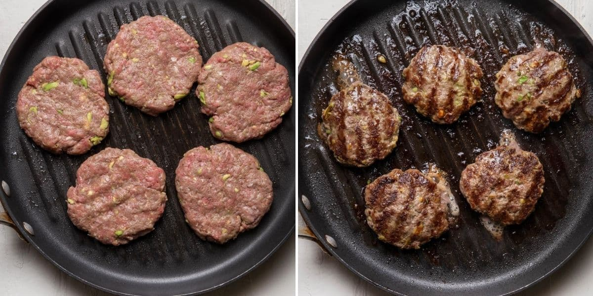 2 image collage to show the patties on the grill before and after grilling