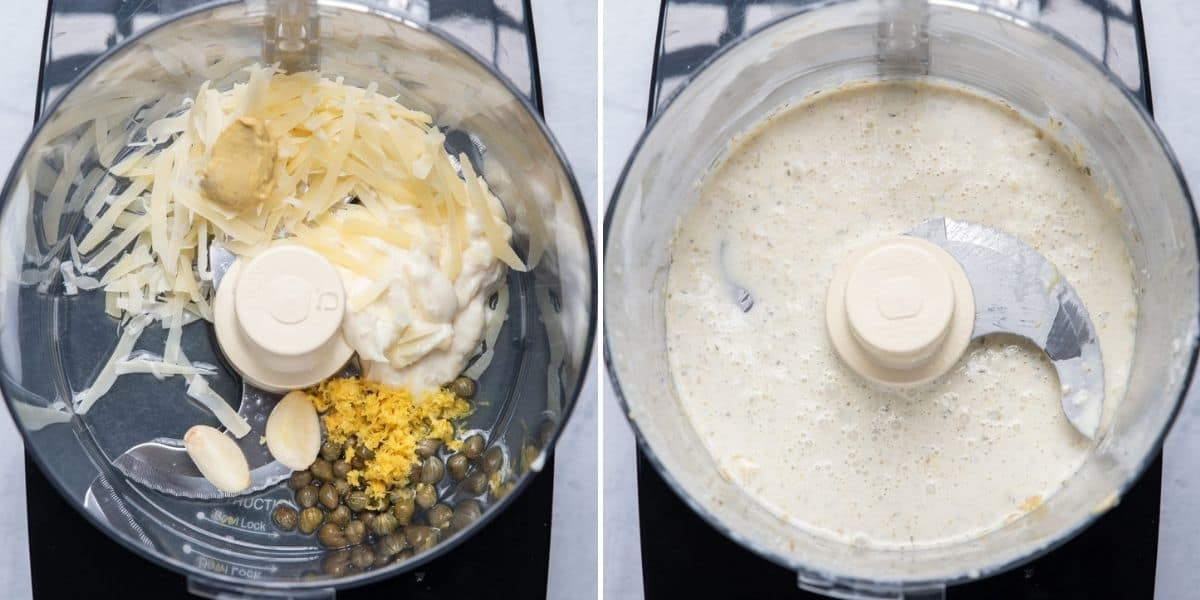 2 image collage to show how to make the dressing in a blender