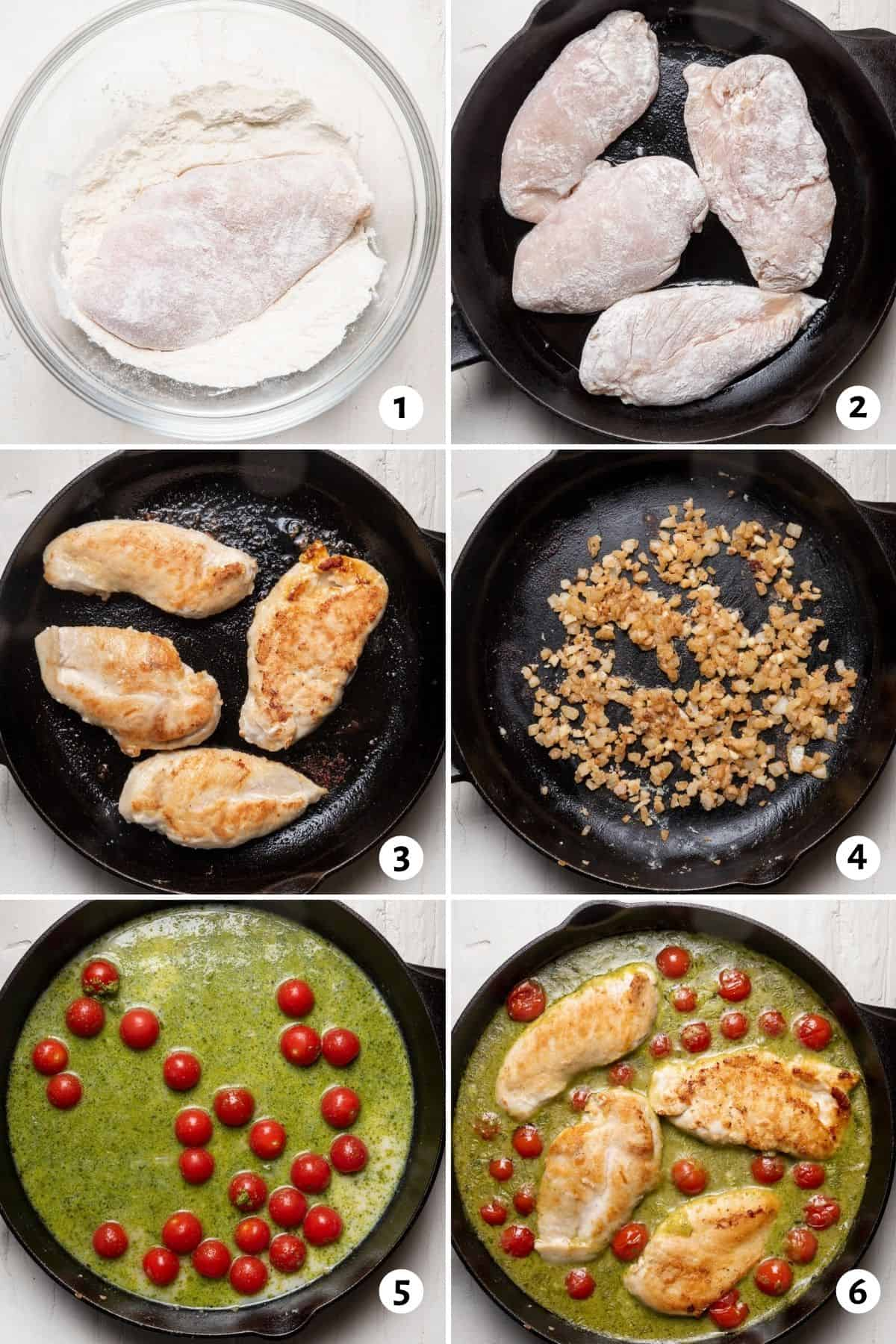 6 image collage to show how to bread the chicken, cook the chicken in the pan and then with the pesto and tomatoes