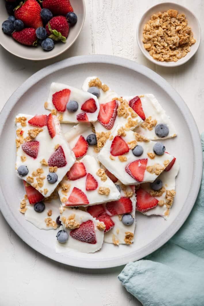 Plate of frozen yogurt bark