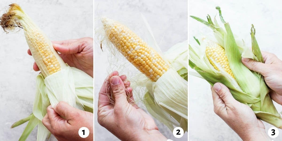 3 image collage to show how to pull down the husk, remove the silk and cover corn with husk again
