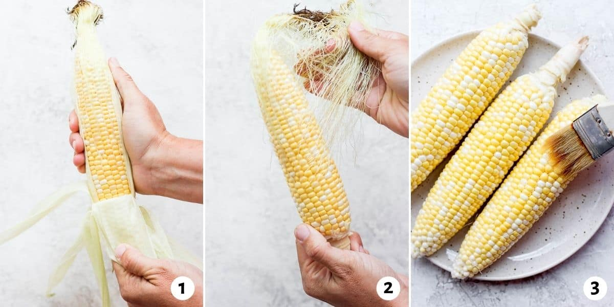 3 image collage to show how to remove the husk, remove the silk and brush the corn with olive oil before grilling