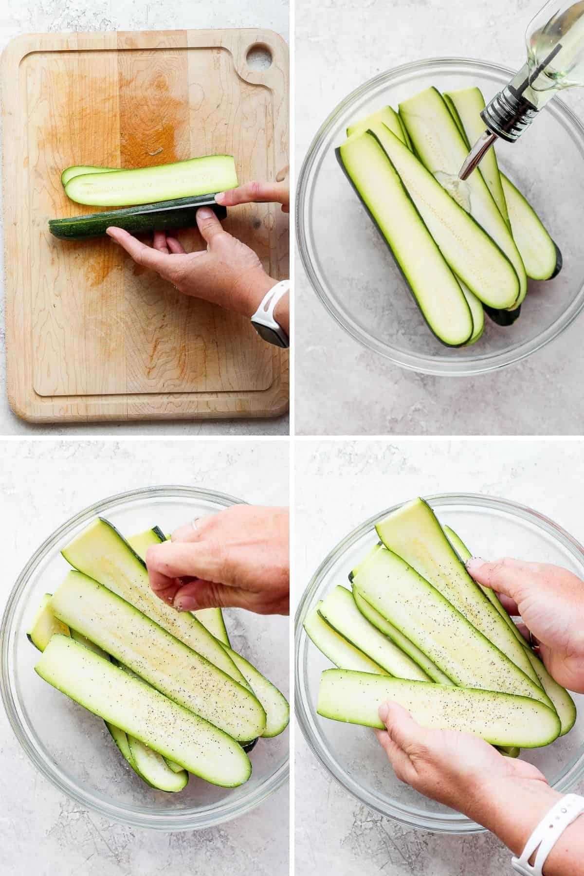 4 image collage to show how to cut the zucchini, add oil to it, season it and toss it to prepare