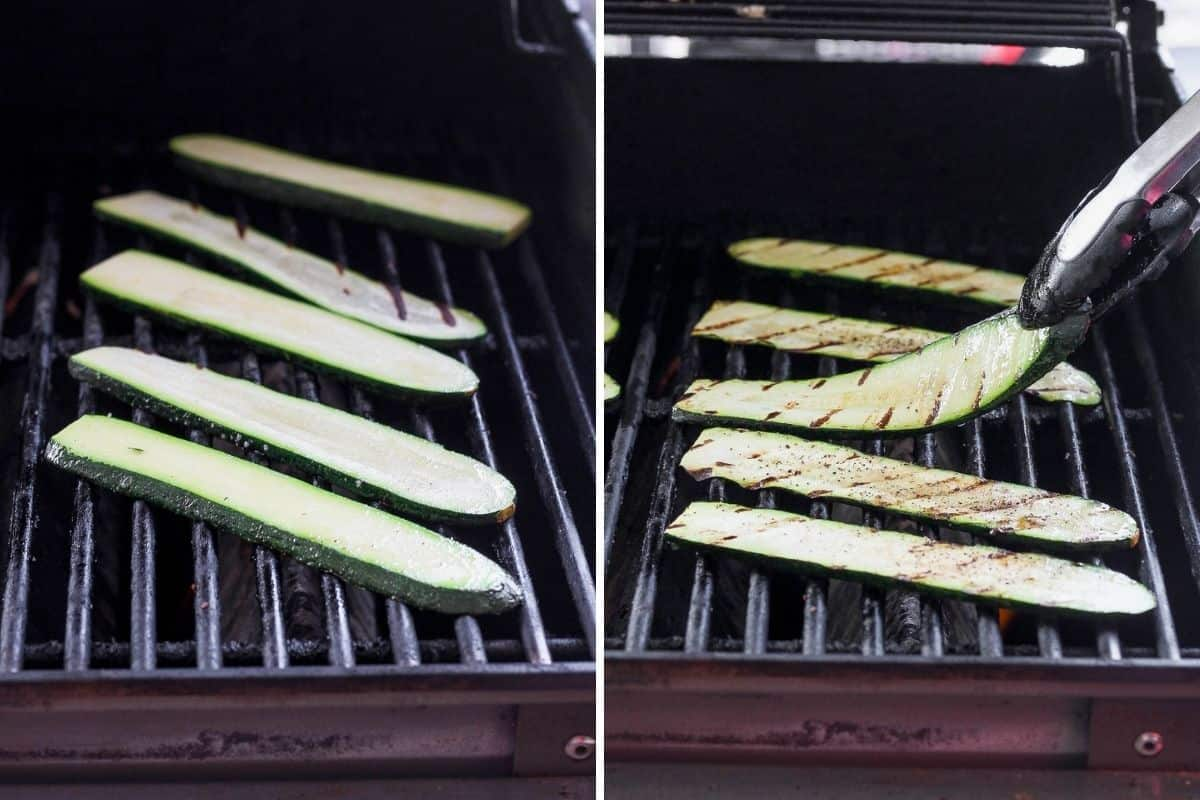 2 image collage to show how to grill zucchini on an outdoor grill