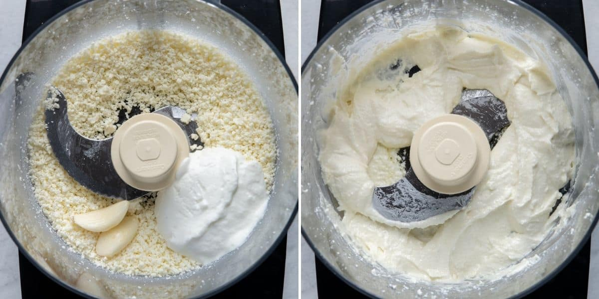 2 image collage to show how to make the whipped feta dip