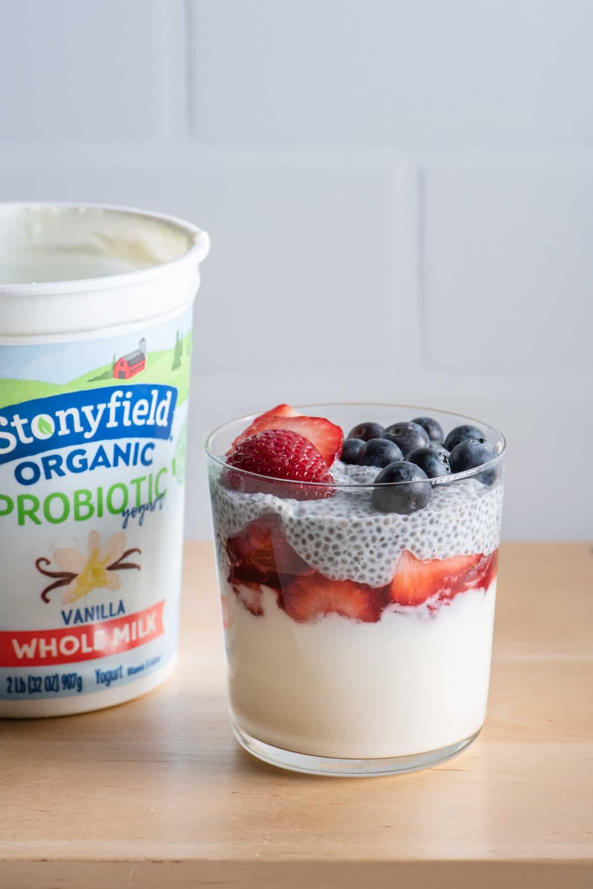 Stonyfield yogurt with yogurt chia pudding