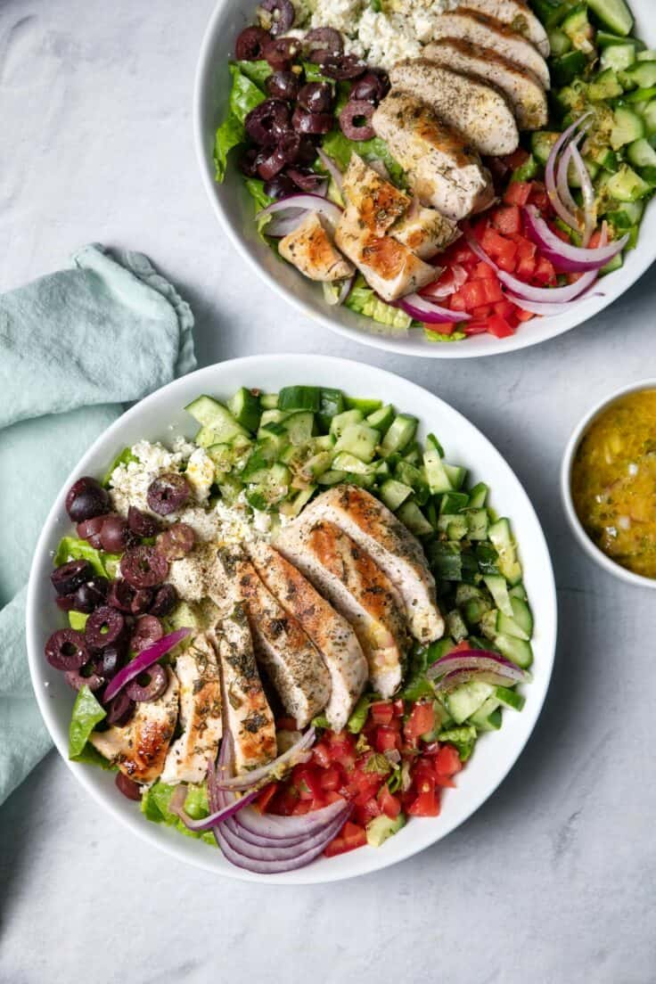 Salad bowl with the Mediterranean chicken salad