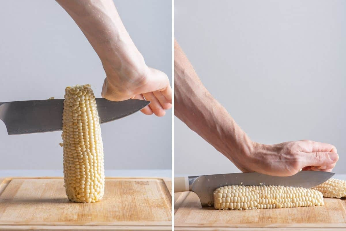 2 image collage to show how to cut the corn for the recipe