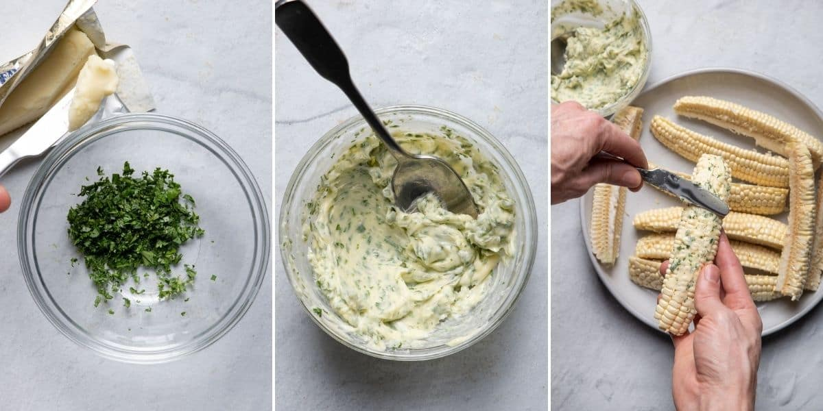 3 image collage to show how to make the herbed butter and then rubbing the butter on the corn ribs
