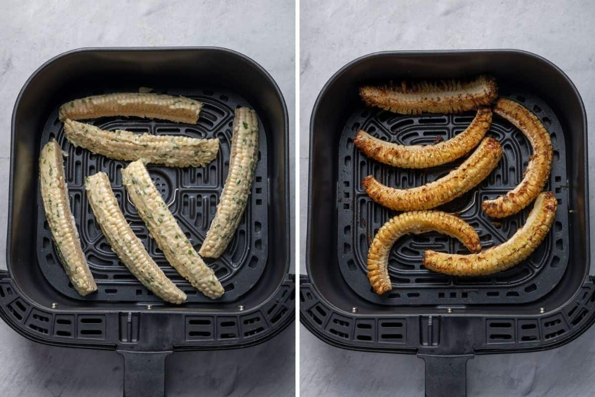 2 image collage to show the corn in the air fryer before and after cooking