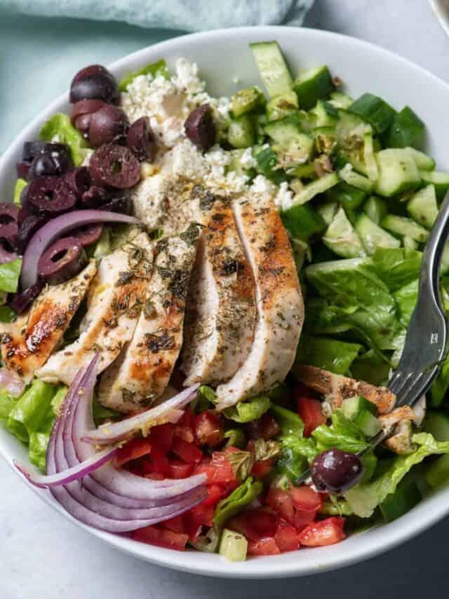Close up shot of the Mediterranean chicken salad