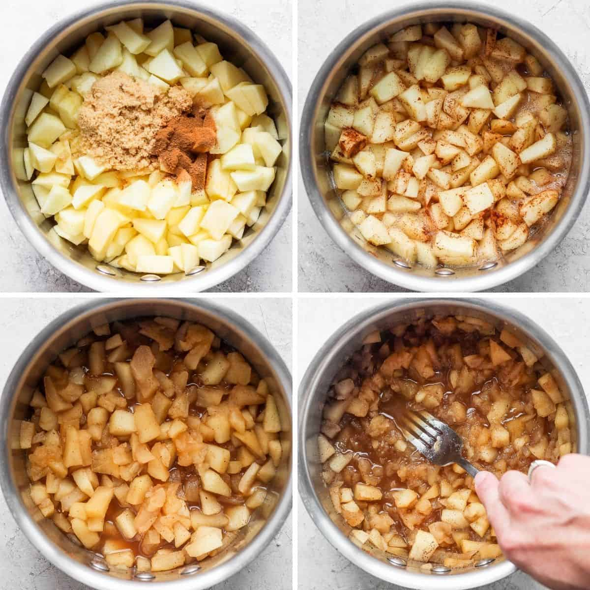 4 image collage to show how to make applesauce
