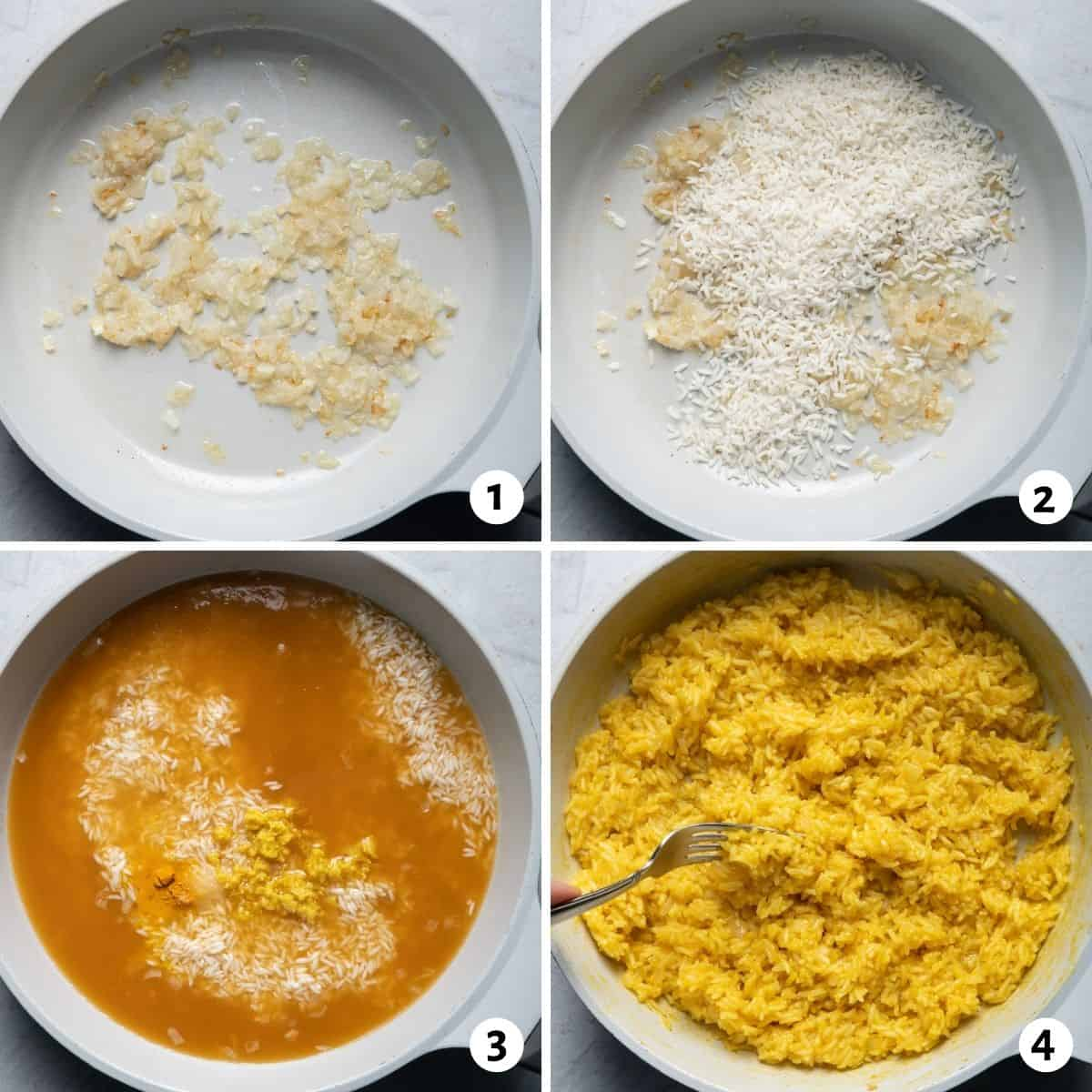 4 image collage to show how to make the rice recipe