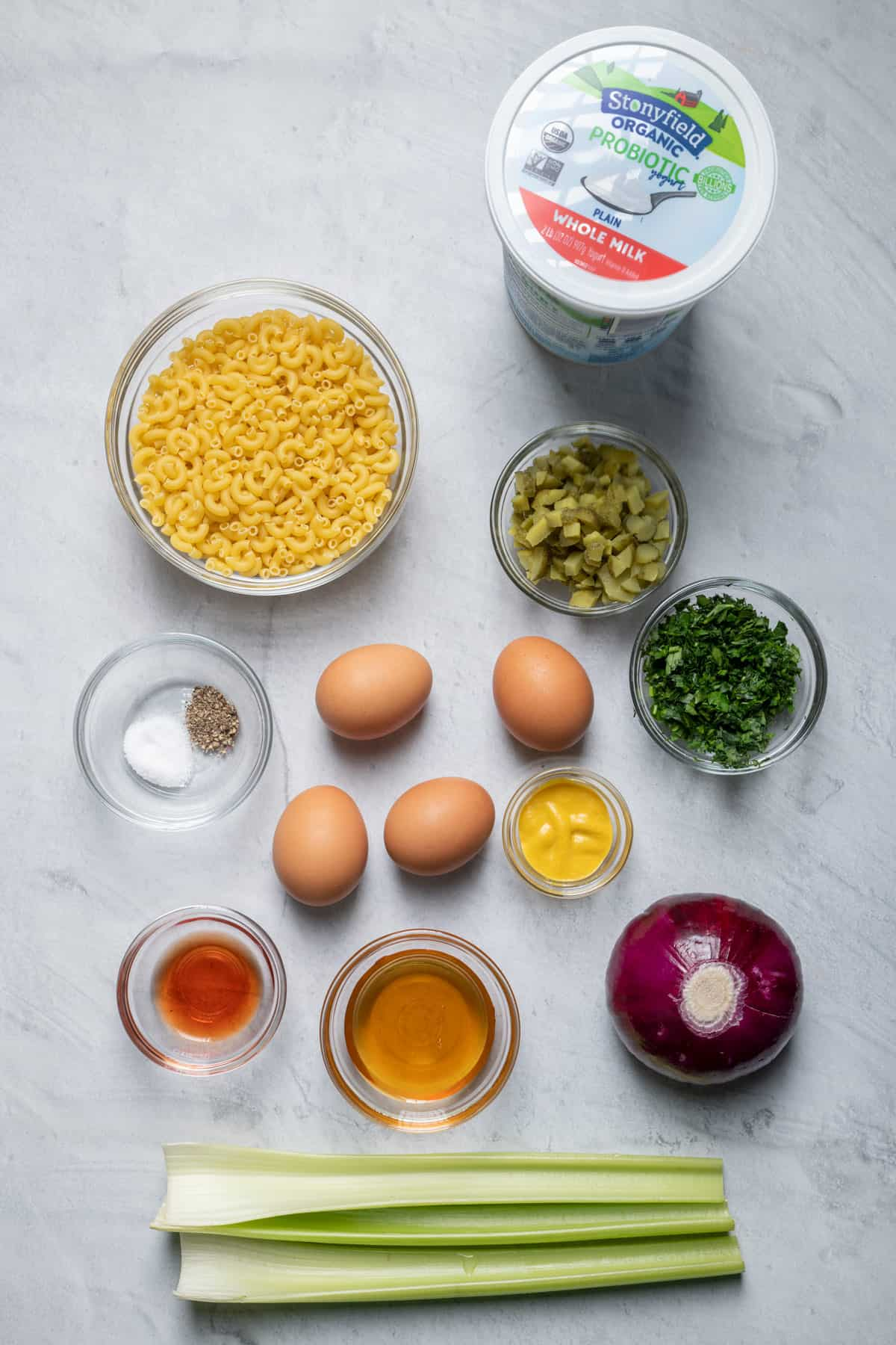 Ingredients to make the recipes before prepping