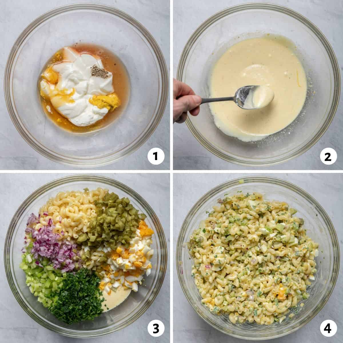 4 image collage to show how to make the salad