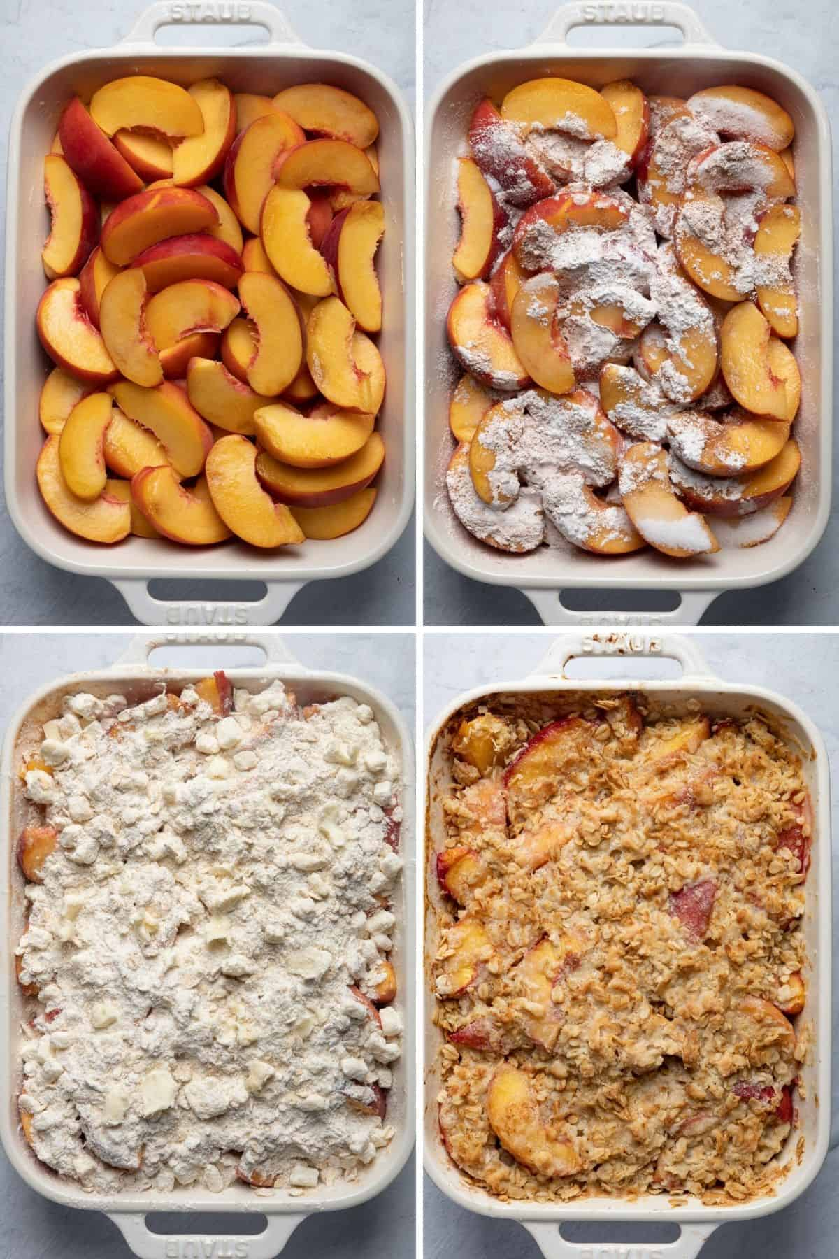 4 image collage to show the peaches in baking dish, then tossed with sugar, lemon juice and cornstarch, then with crisp on top, then baked