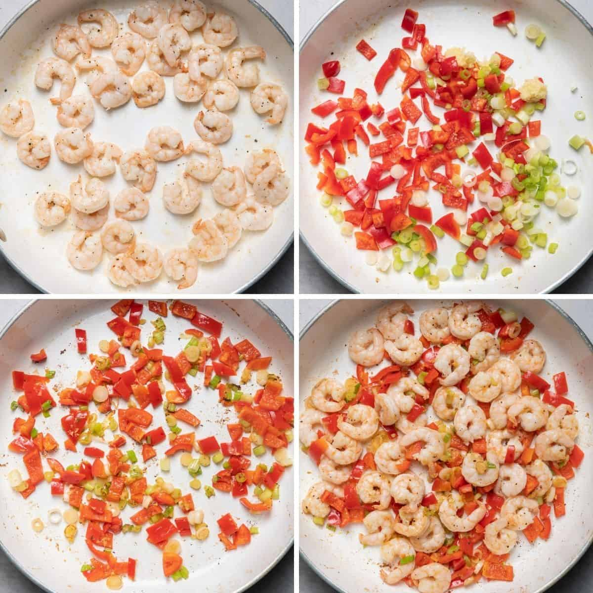 4 image collage to show how to cook the shrimp and the vegetables