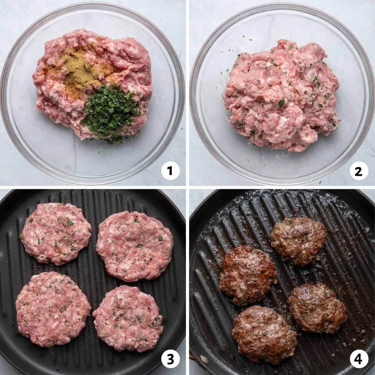4 image collage to show how to make the burger recipe