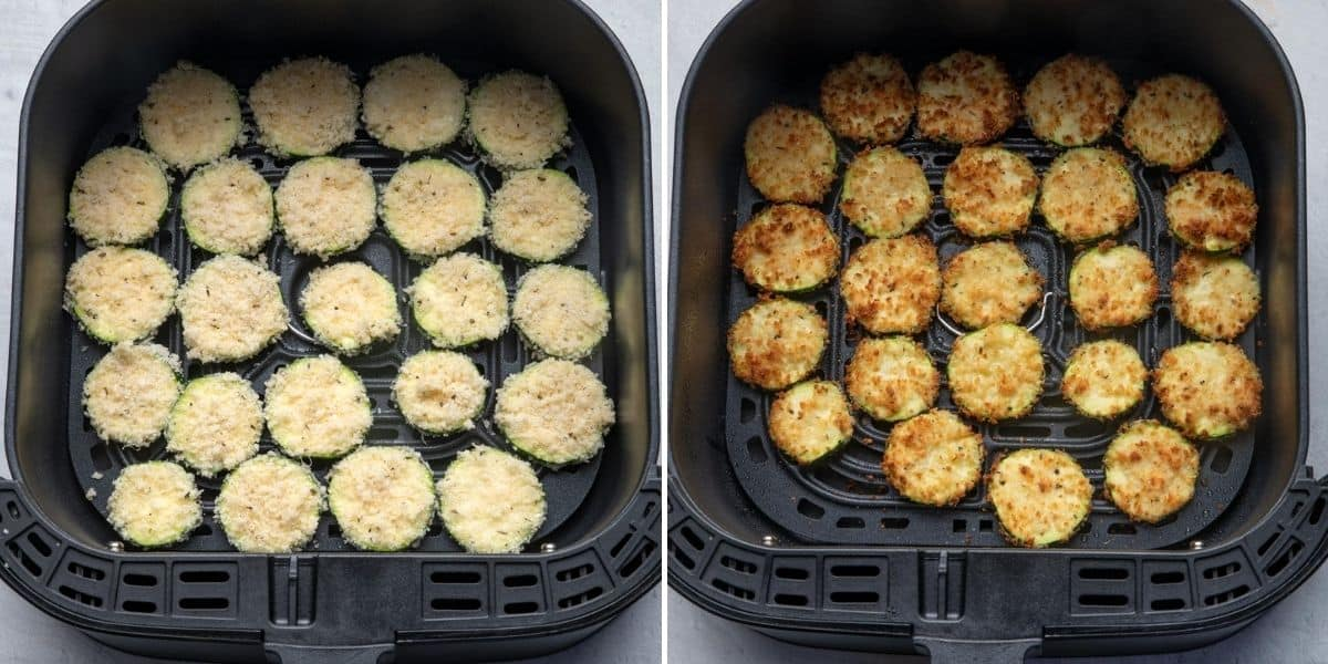 2 image collage to show the zucchini chips before and after getting air fried