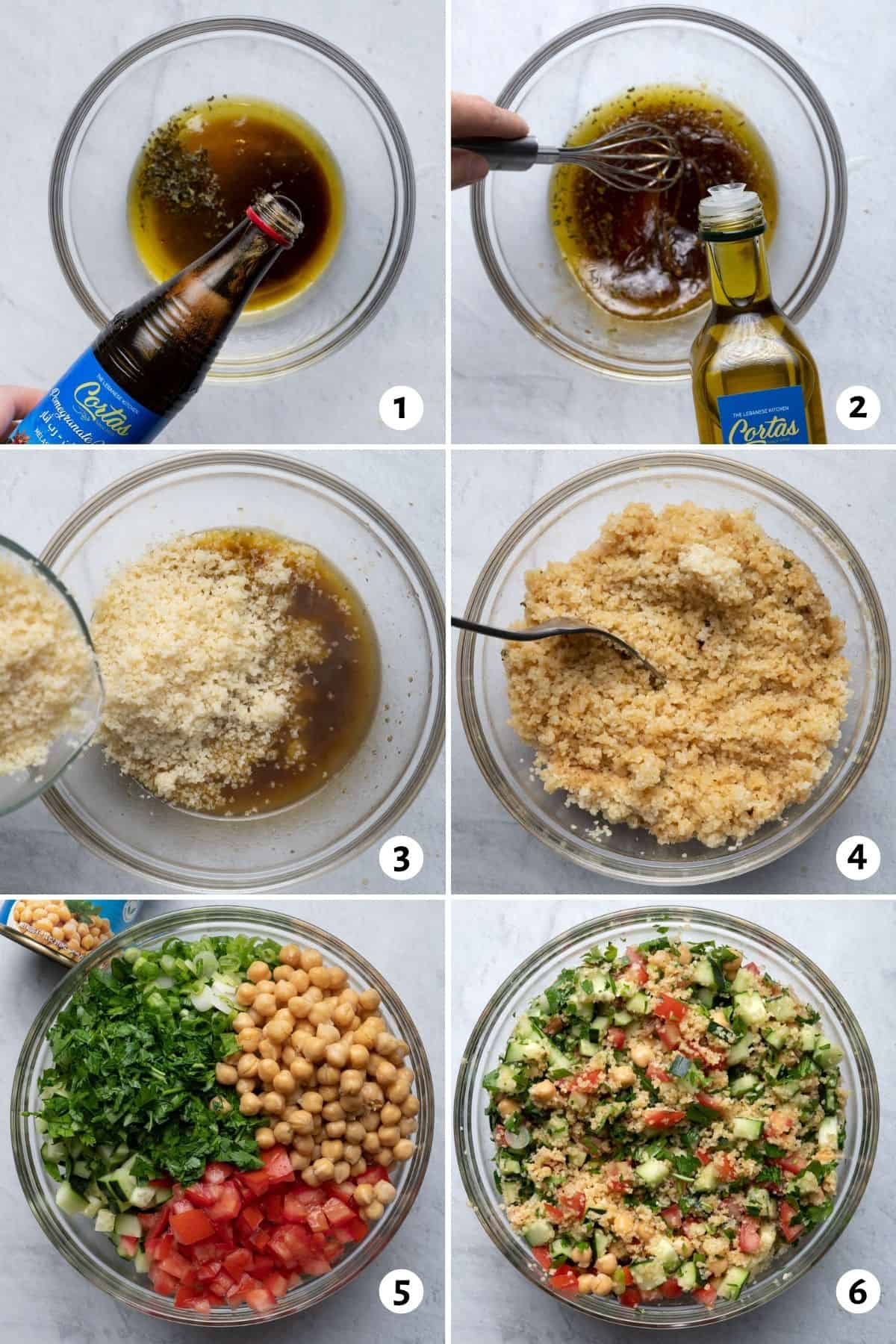 6 image collage to show how to make the dressing, fluff the bulgur and then mix the salad together