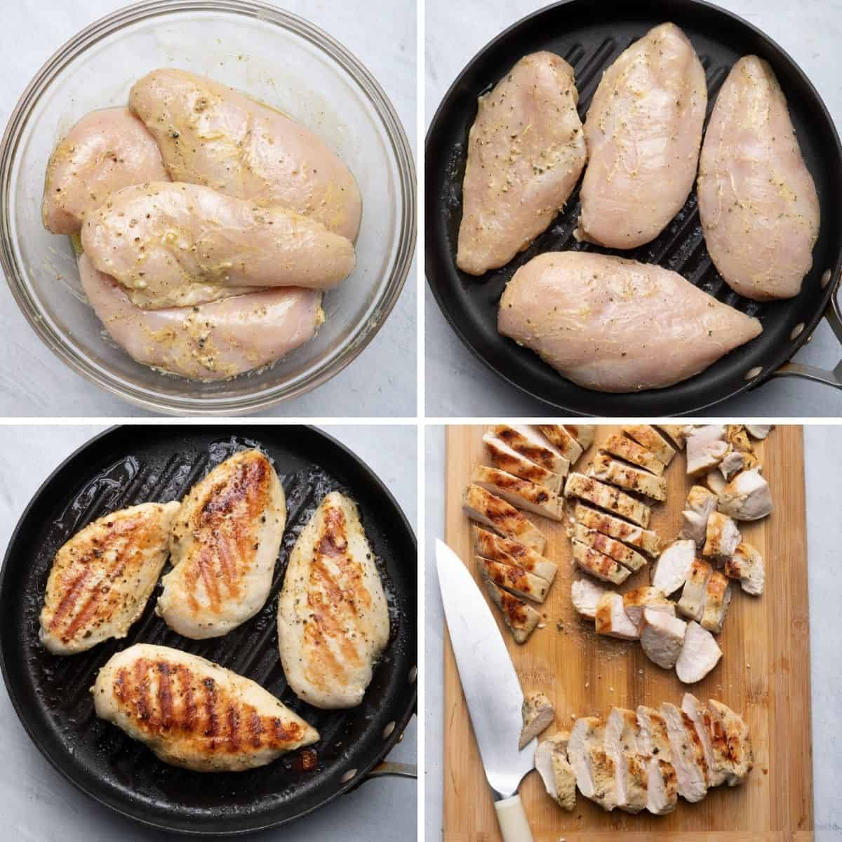 4 image collage to show how to marinade, cook and slice chicken for the meal prep