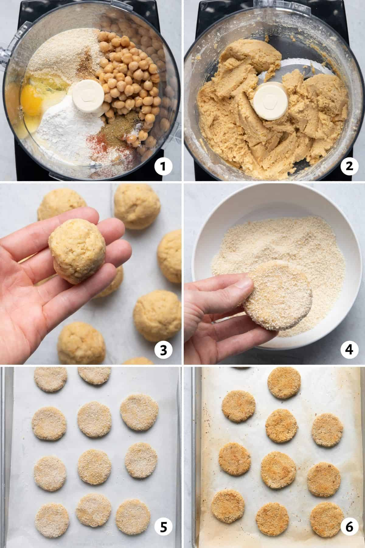 6 image collage to show the chickpea bite ingredients in the food processor, then rolling them, then baking them