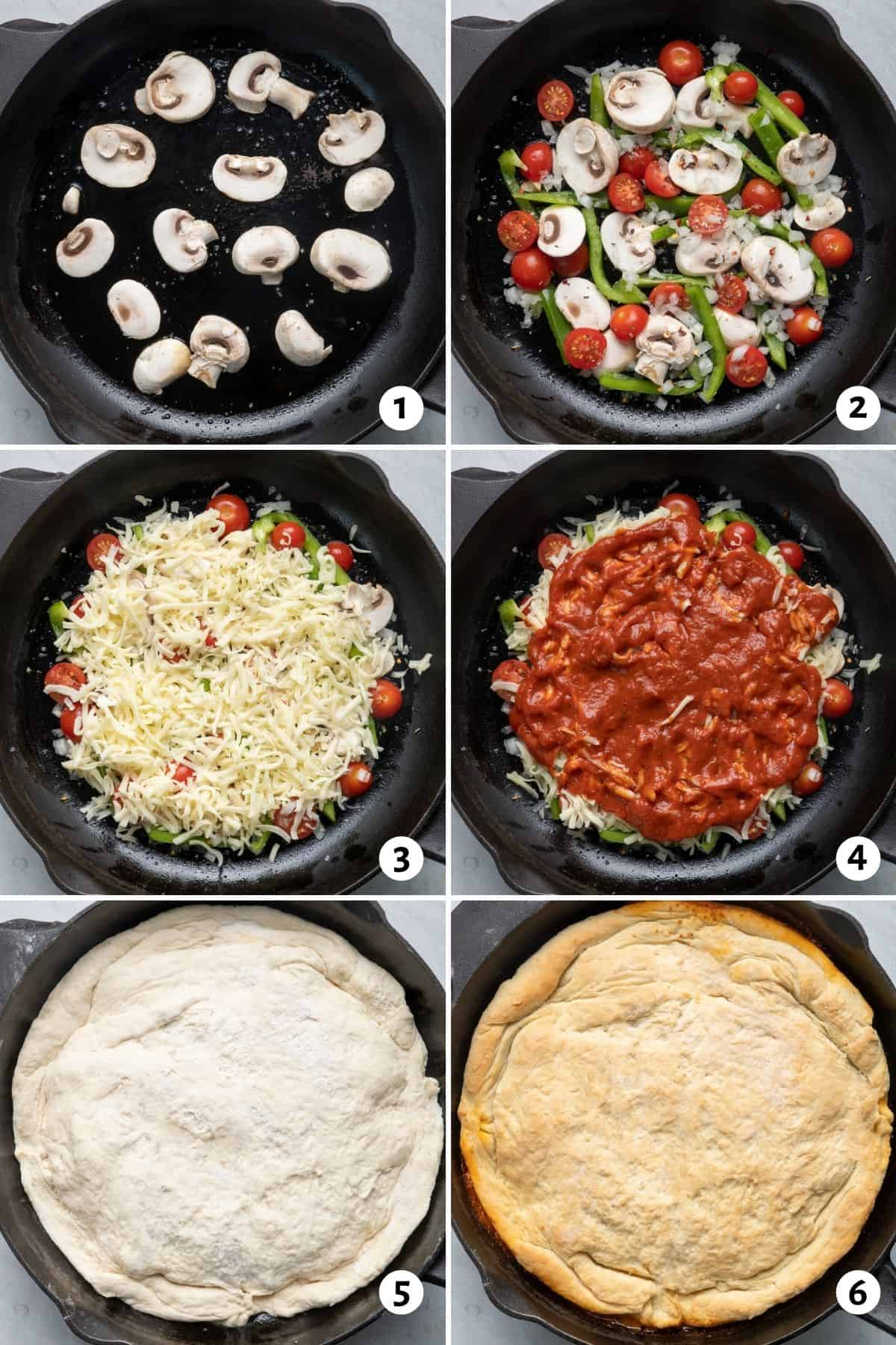 6 image collage to show how to assemble the recipe