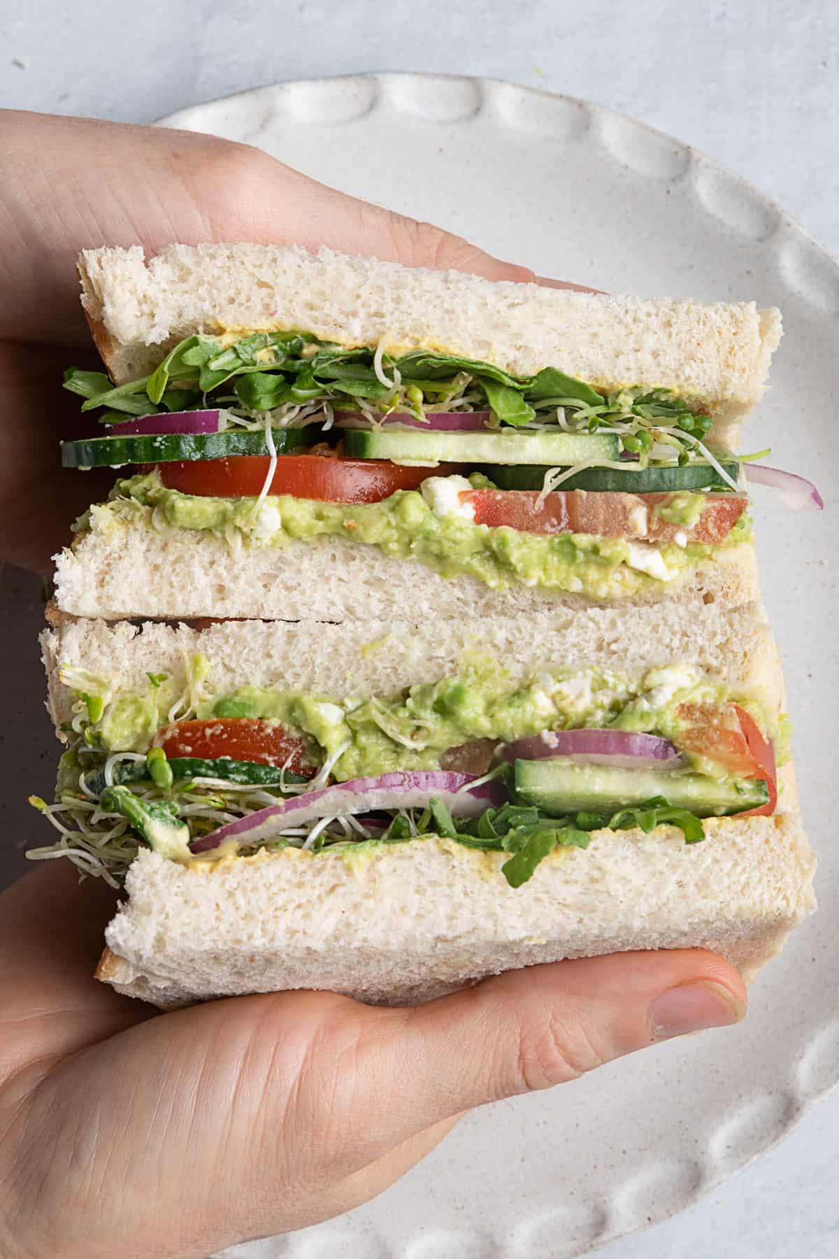 Vegetarian avocado sandwich filled with vetables