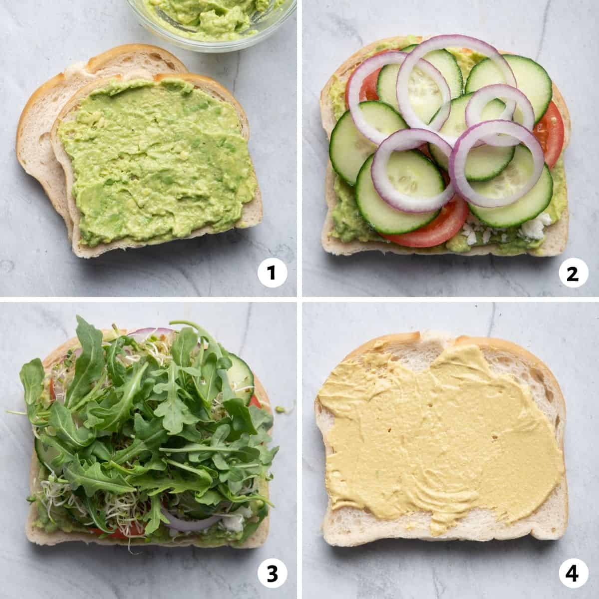 4 image collage to show how to assemble the sandwich