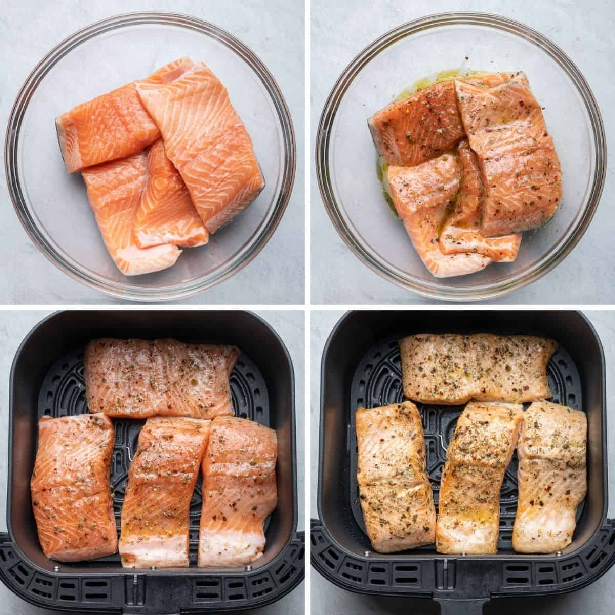 4 image collage to show how to marinate the salmon and air fry it