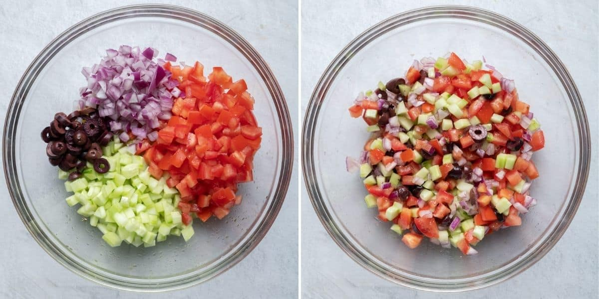 2 image collage to show the salad ingredients before and after mixed