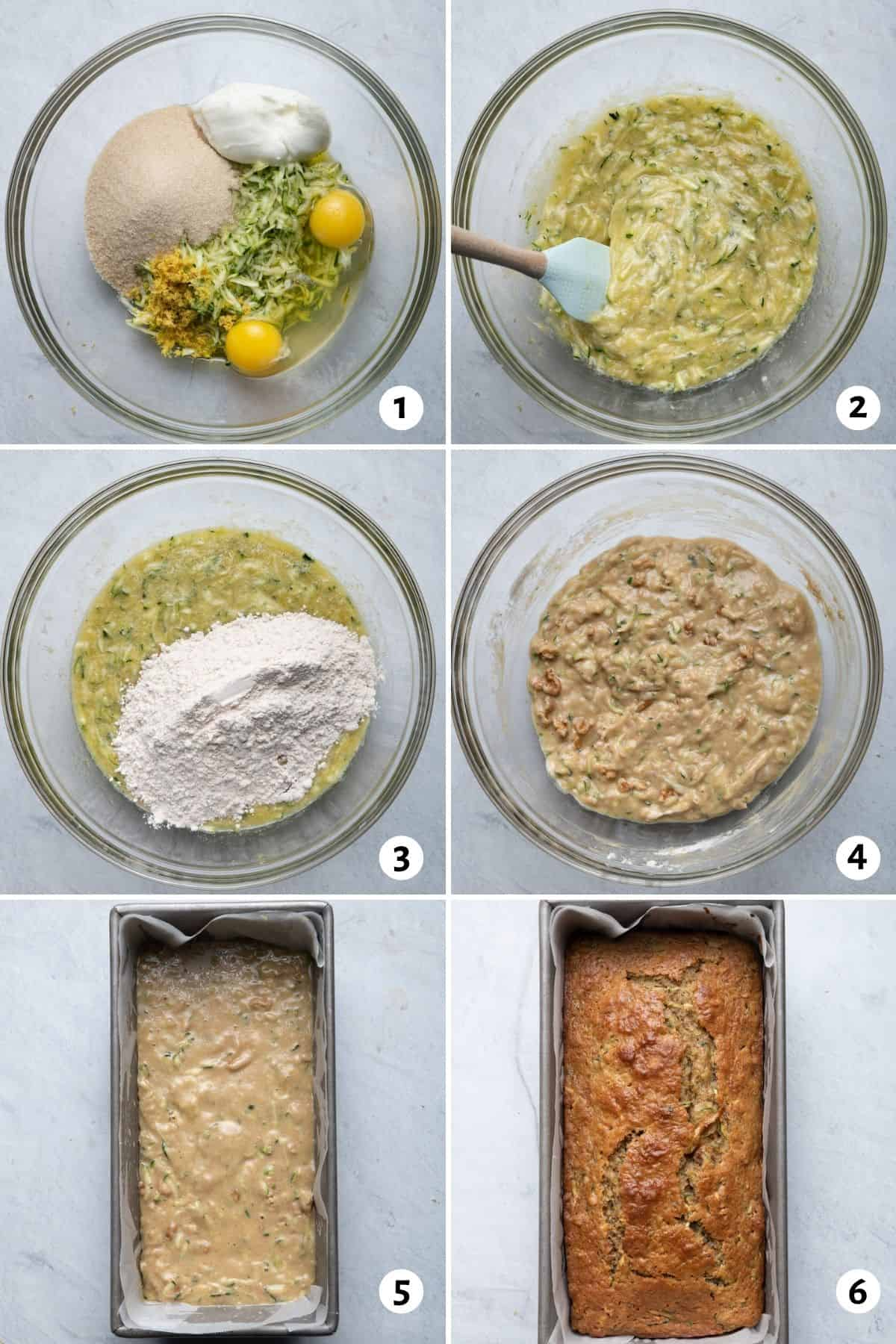 6 image collage to show how to mix the ingredients and then bake in the loaf pan