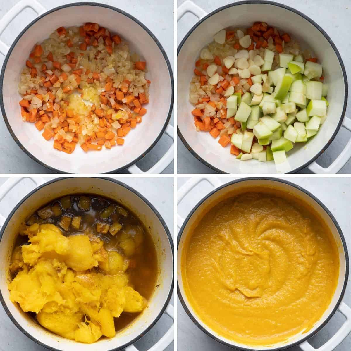 4 image collage to show the ingredients for the soup in the pot getting cooked and then getting pureed