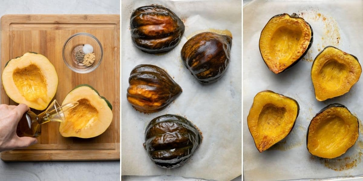 3 image collage to show the acorn squash on cutting board with olive oil, then getting baked flipped on parchment paper baking sheet, then after baking to show soft texture