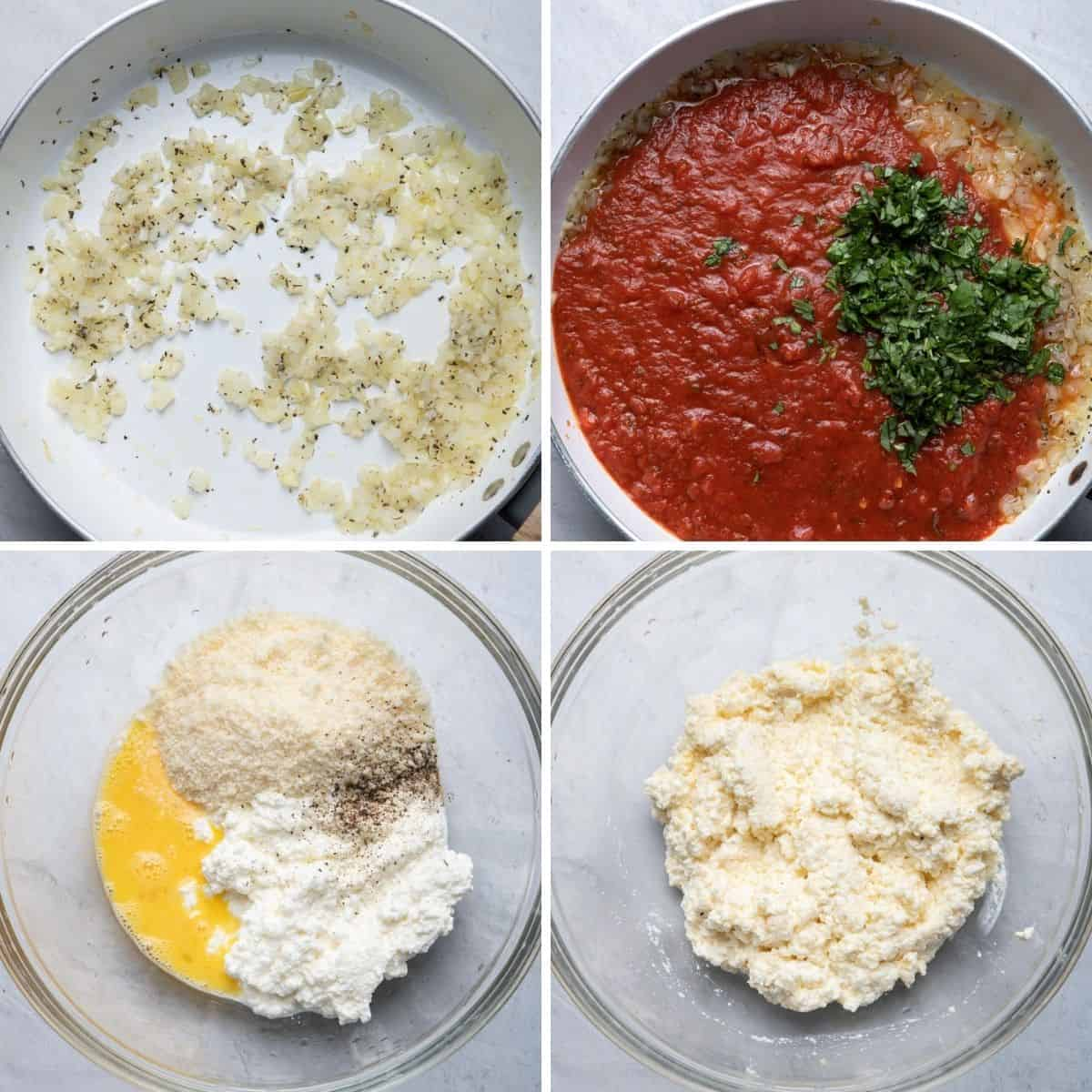4 image collage to show the marinara sauce cooking and bowl for mixing the ricotta mixture