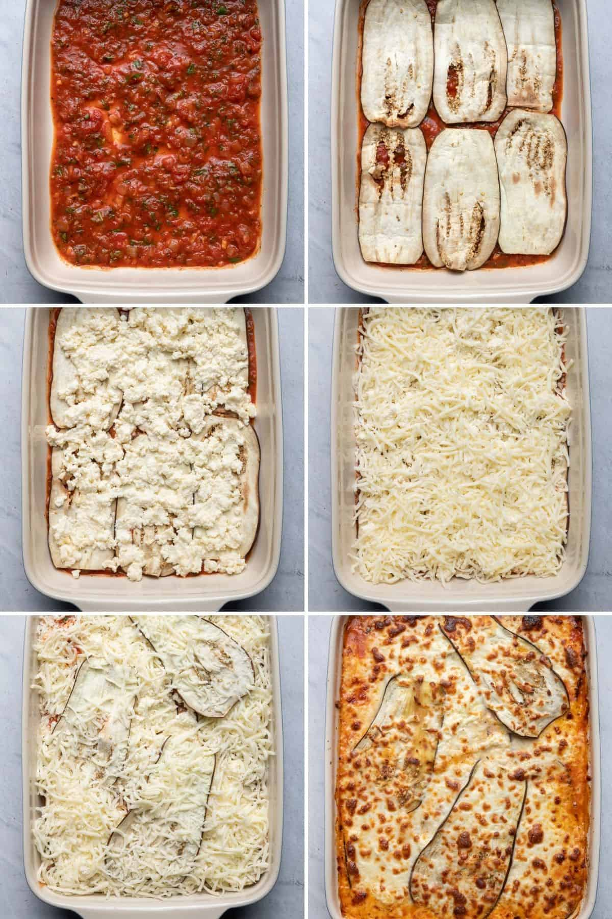 6 image collage to show the layering of the eggplant lasagna