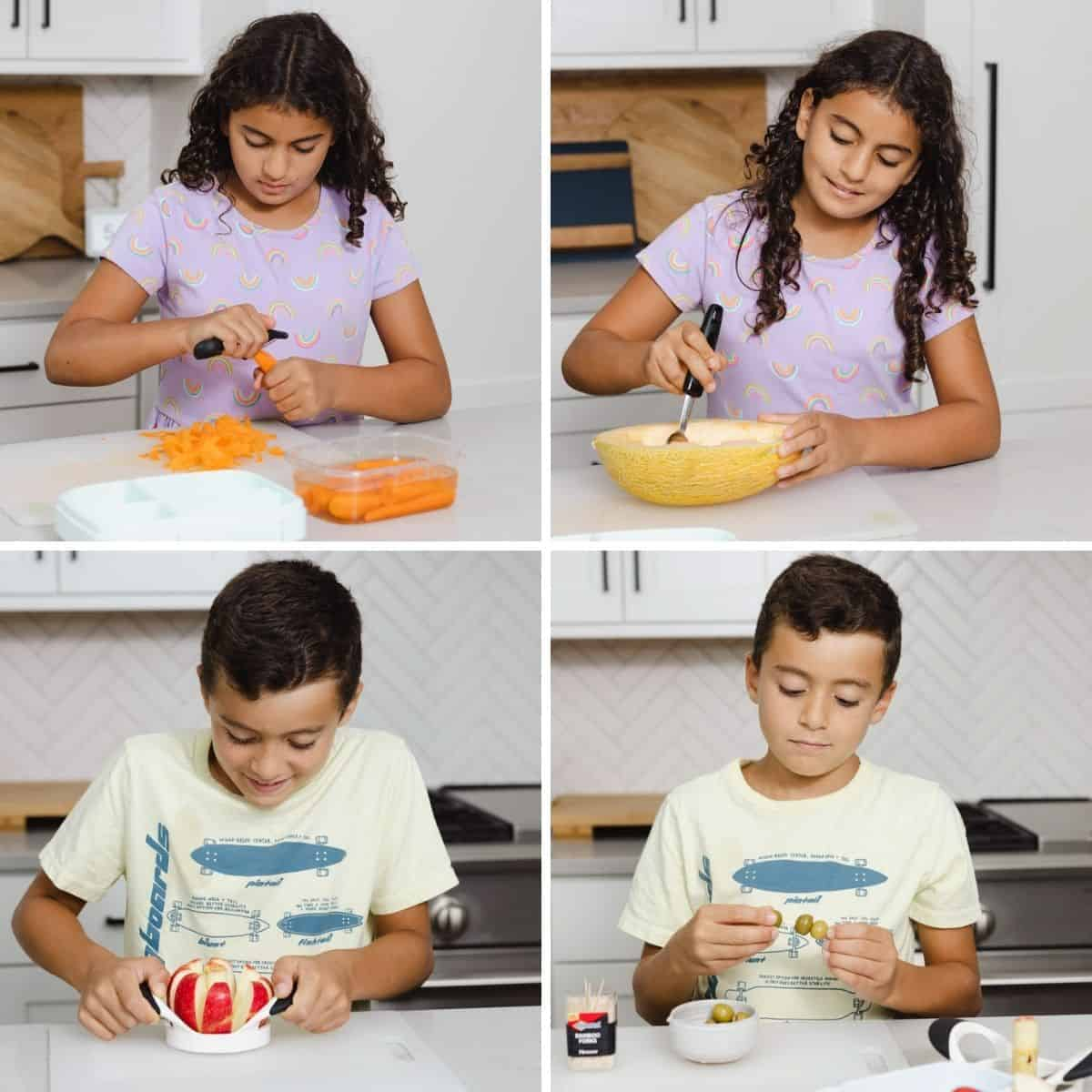 Collage of kids preparing ingredients to use to make their lunchboxes