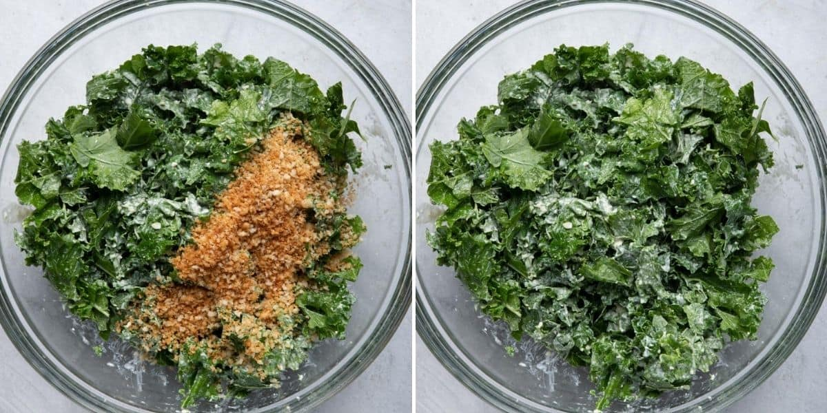 2 image collage showing the salad ingredients before and after tossing