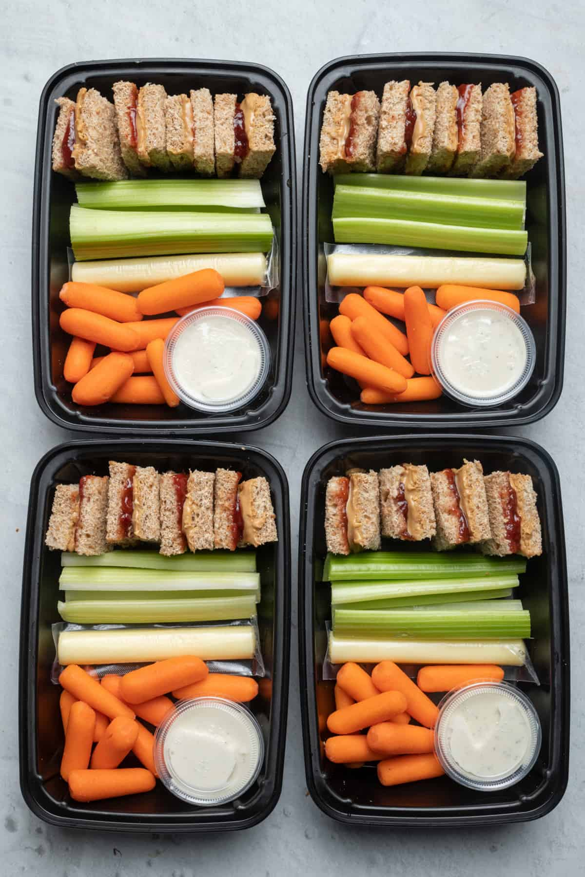 Peanut butter and jelly meal prep containers