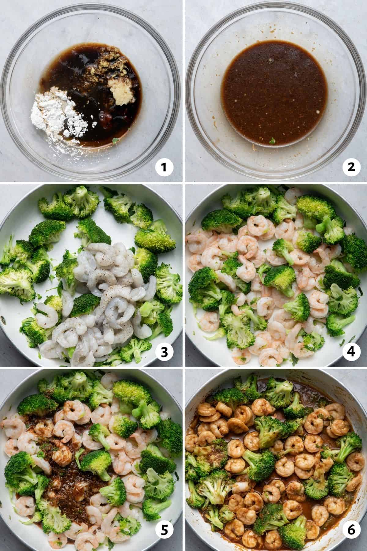 6 image collage to show how to make the sauce, then how to cook the shrimp and broccoli and toss together with the sauce