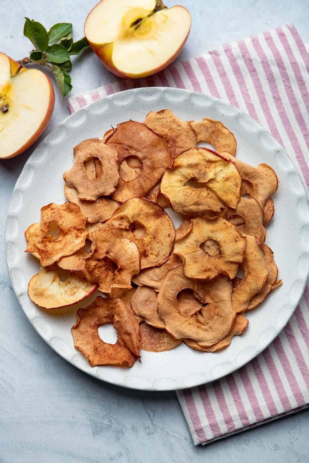 Plate full of apple chips