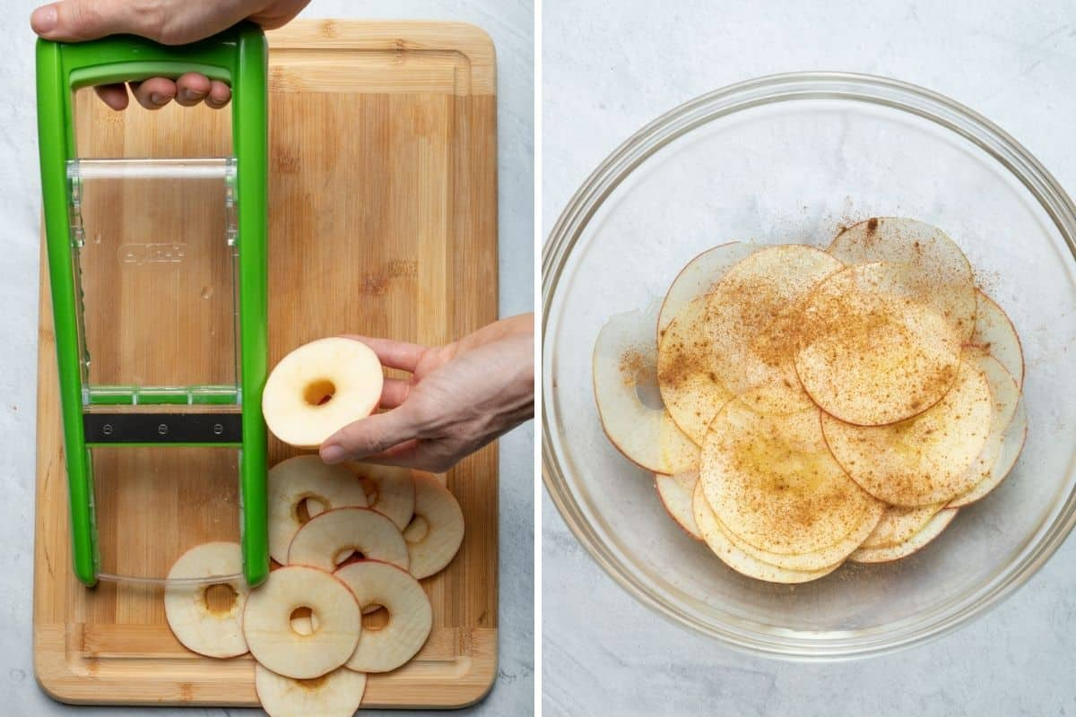 2 image collage to show how to slice apples with mandolin and then tossing apples with cinnamon