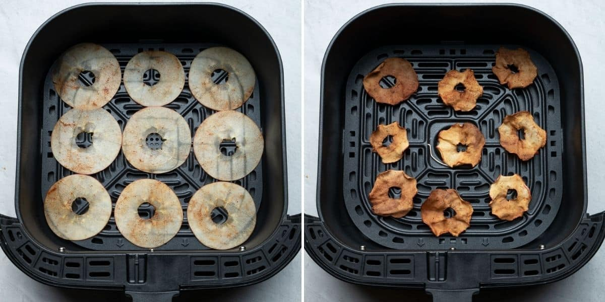 2 image collage to show the apples in the air fryer before and after cooking