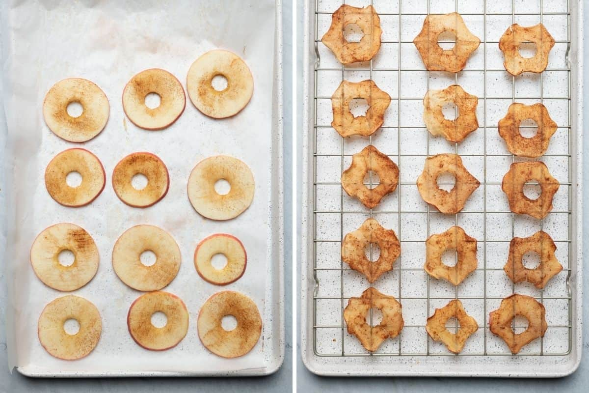 2 image collage to show the apples on a baking sheet before and after cooking