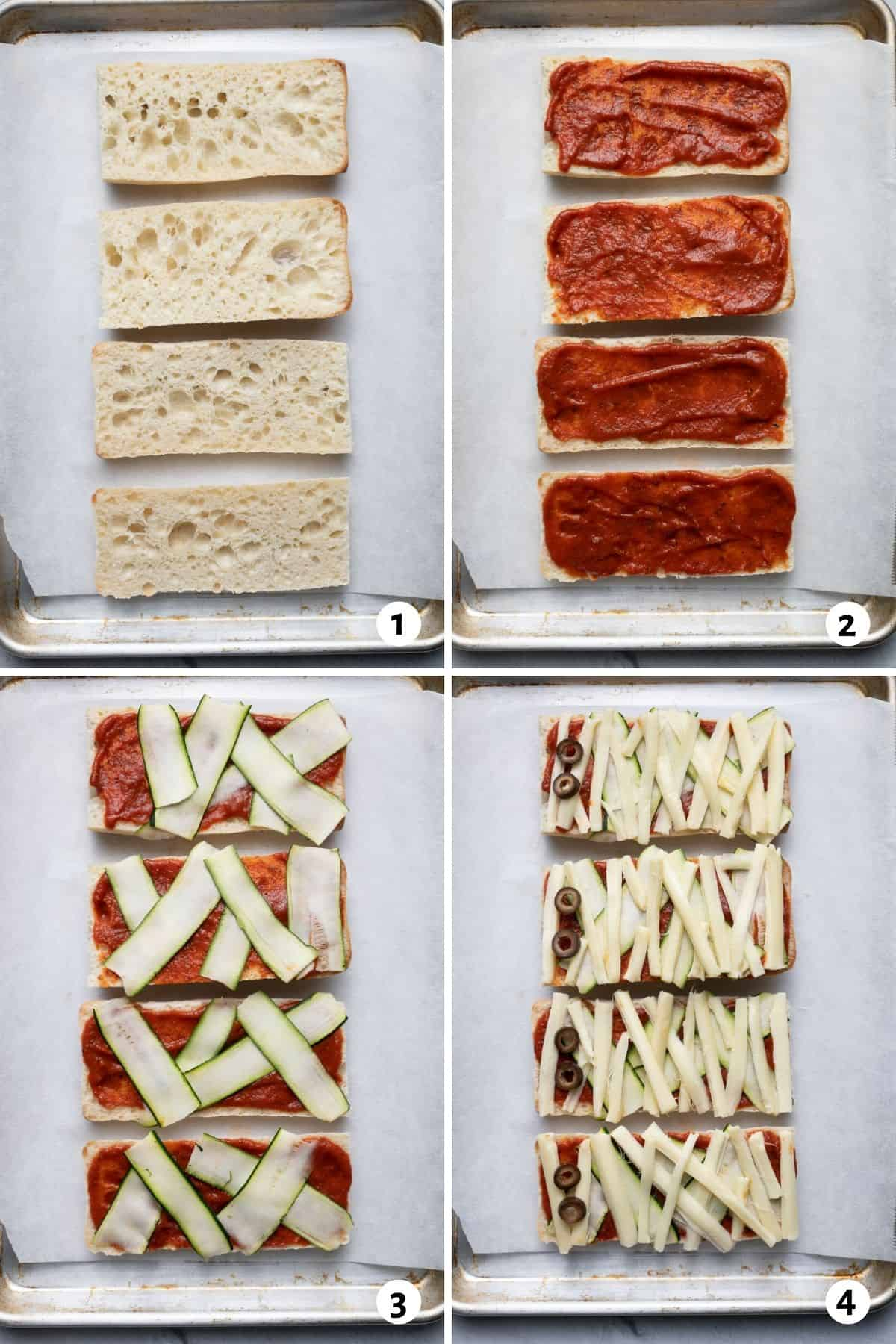 4 image collage to show how to layer the bread to make the pizza
